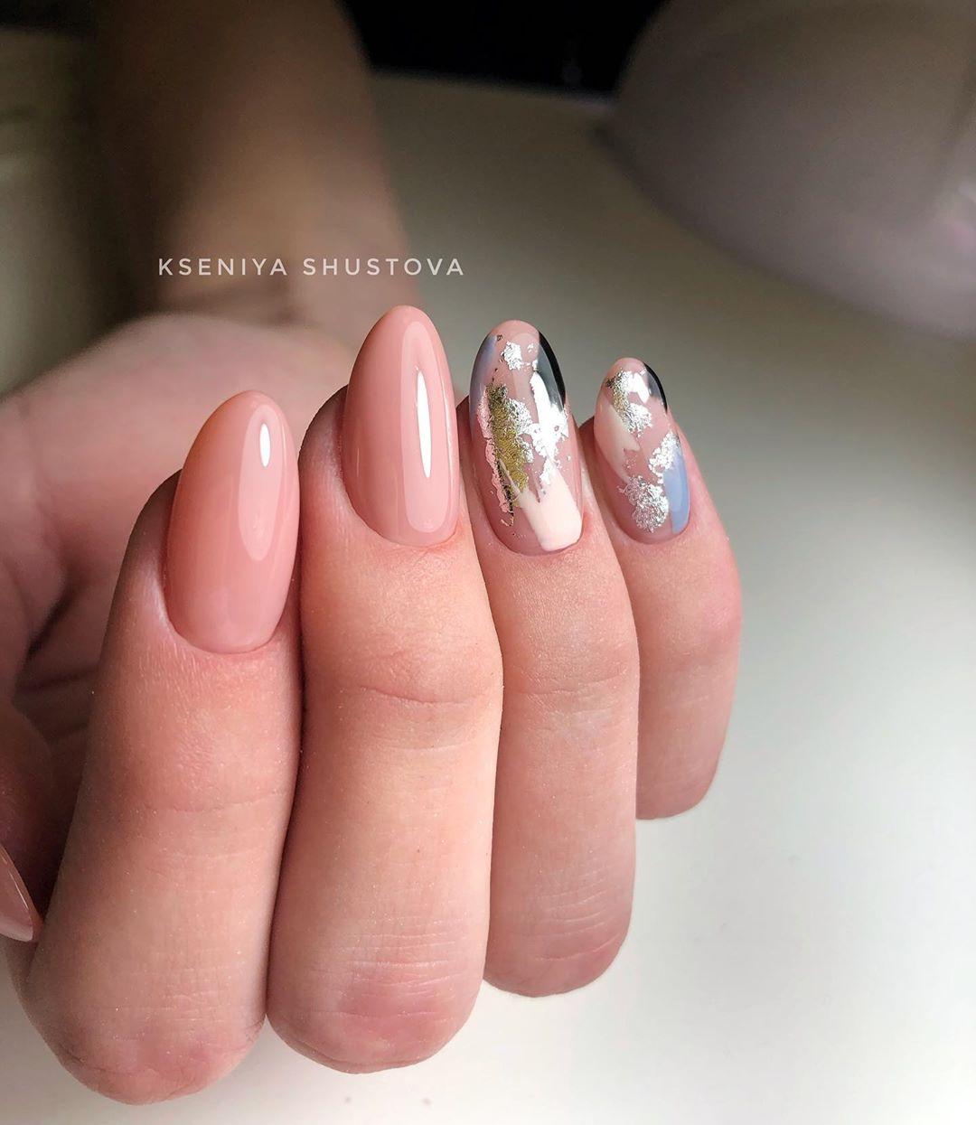 дизайн мазки кистью на ногтях фото_28