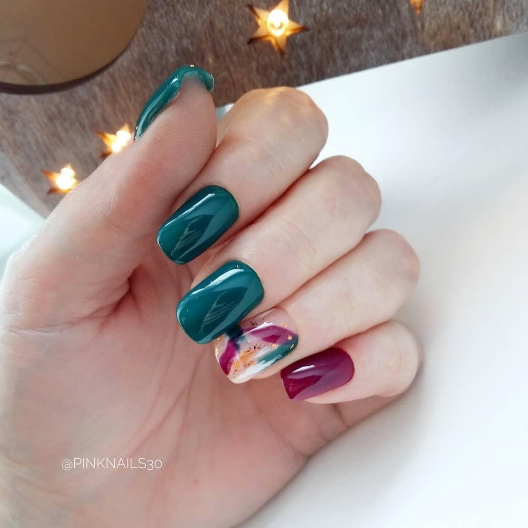 дизайн мазки кистью на ногтях фото_12