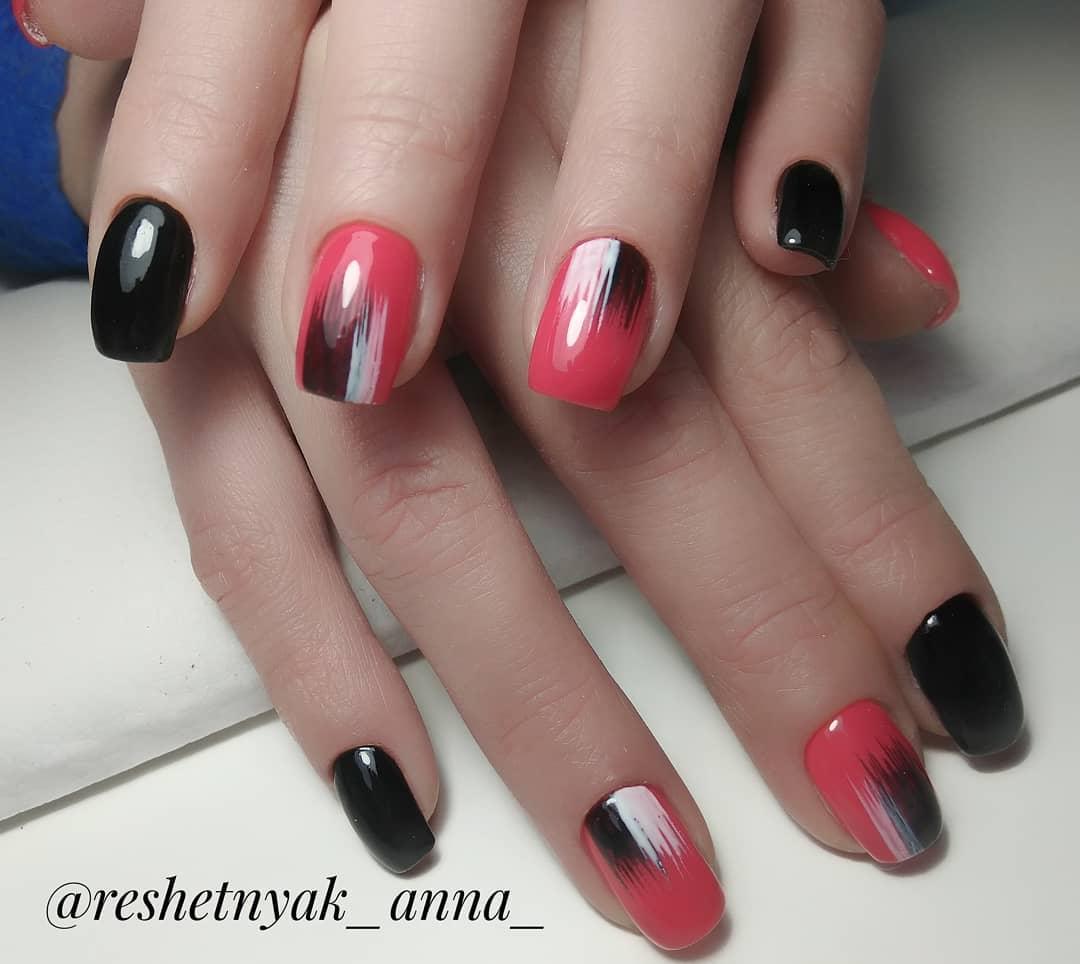 дизайн мазки кистью на ногтях фото_15