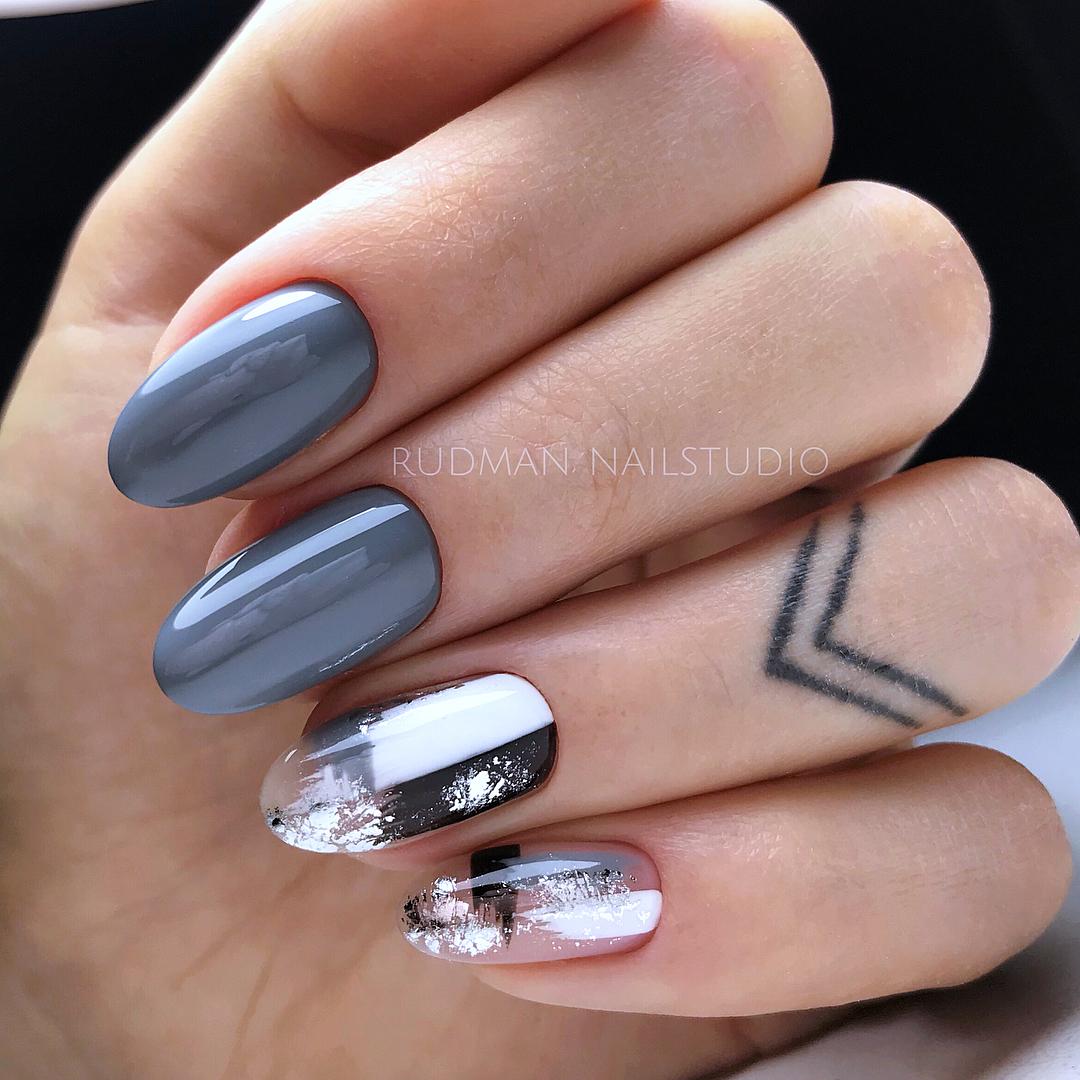 дизайн мазки кистью на ногтях фото_29