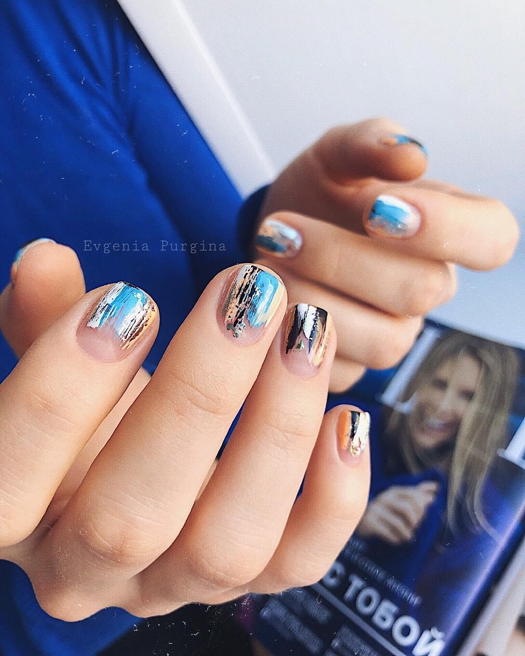 дизайн мазки кистью на ногтях фото_7
