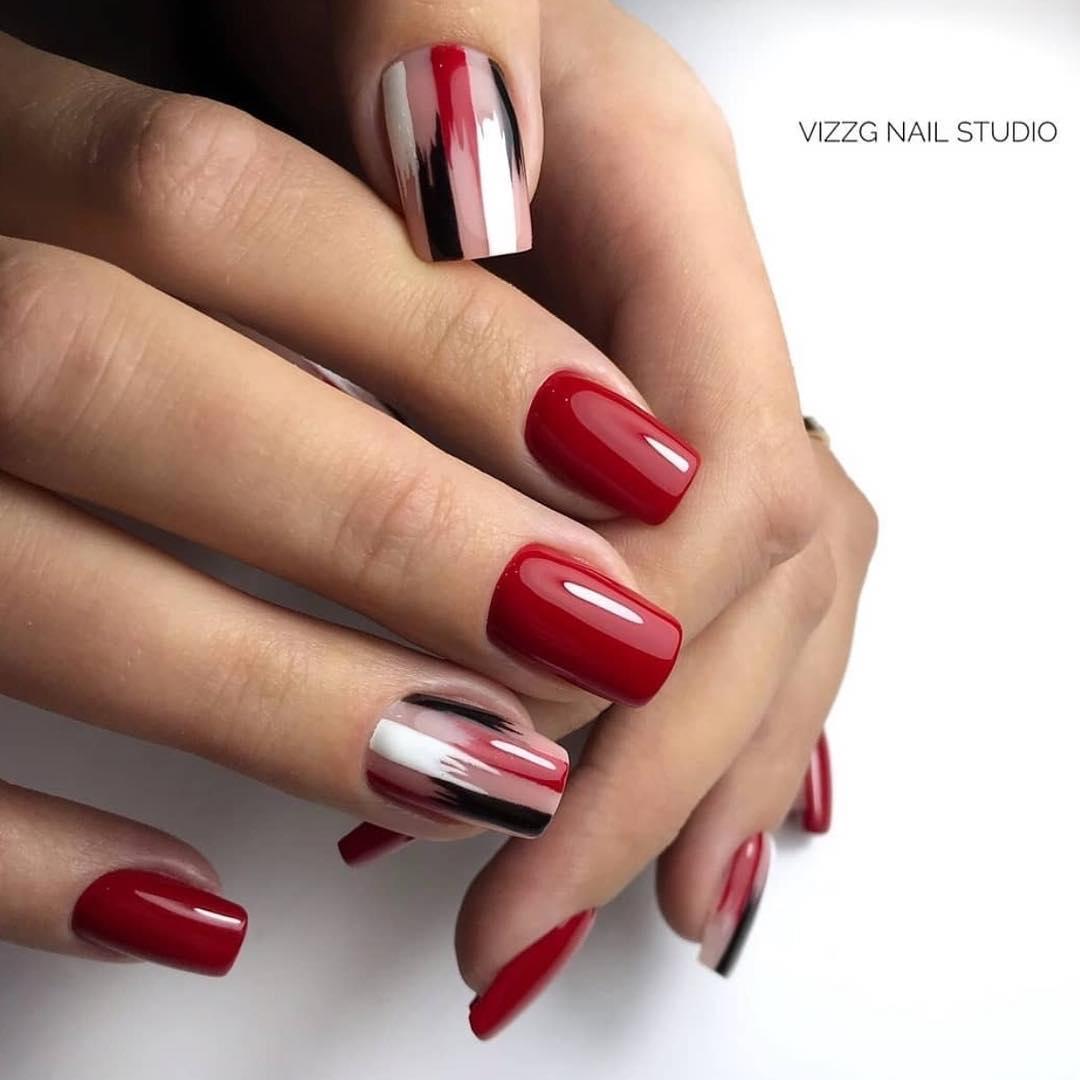 дизайн мазки кистью на ногтях фото_27