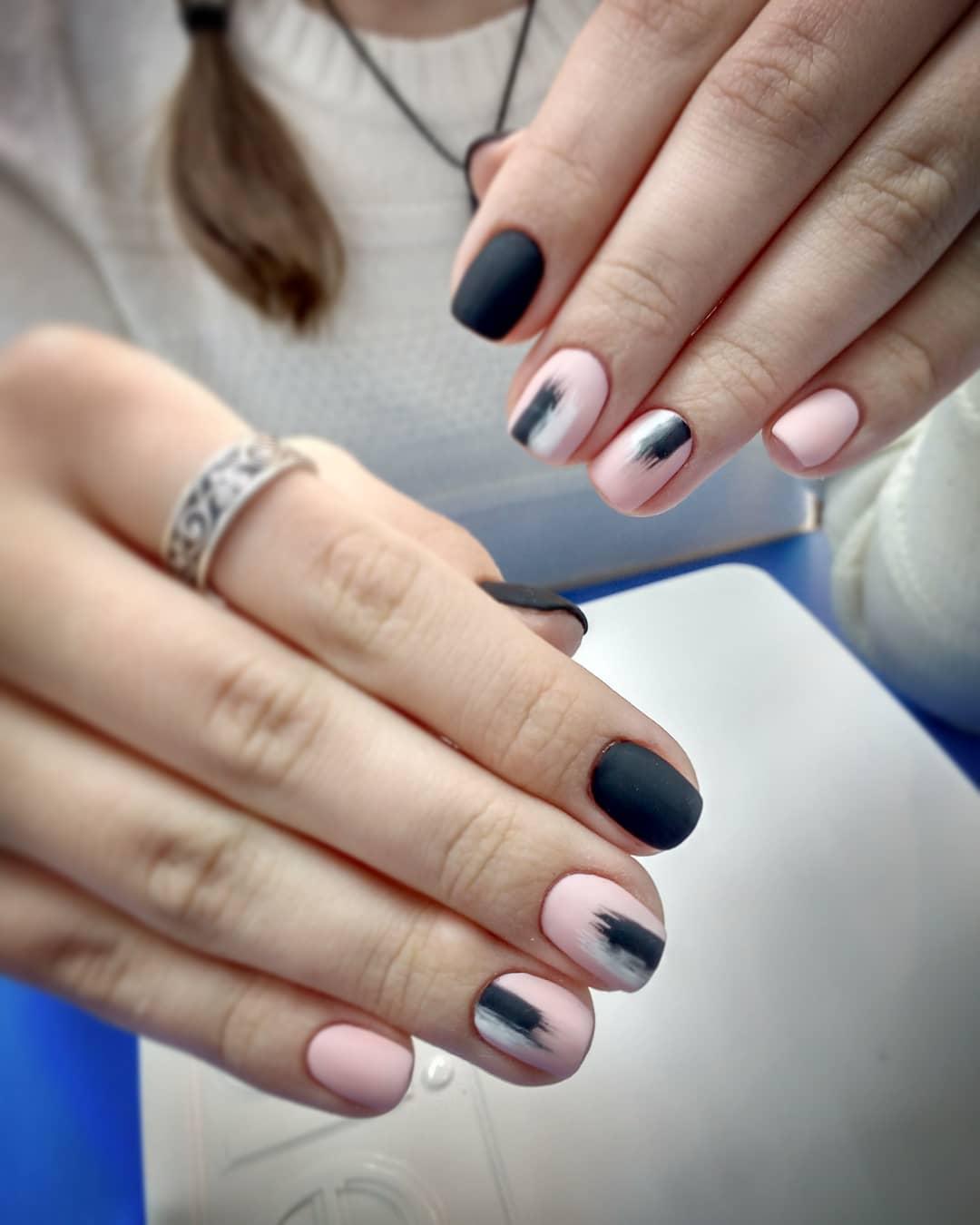 дизайн мазки кистью на ногтях фото_24