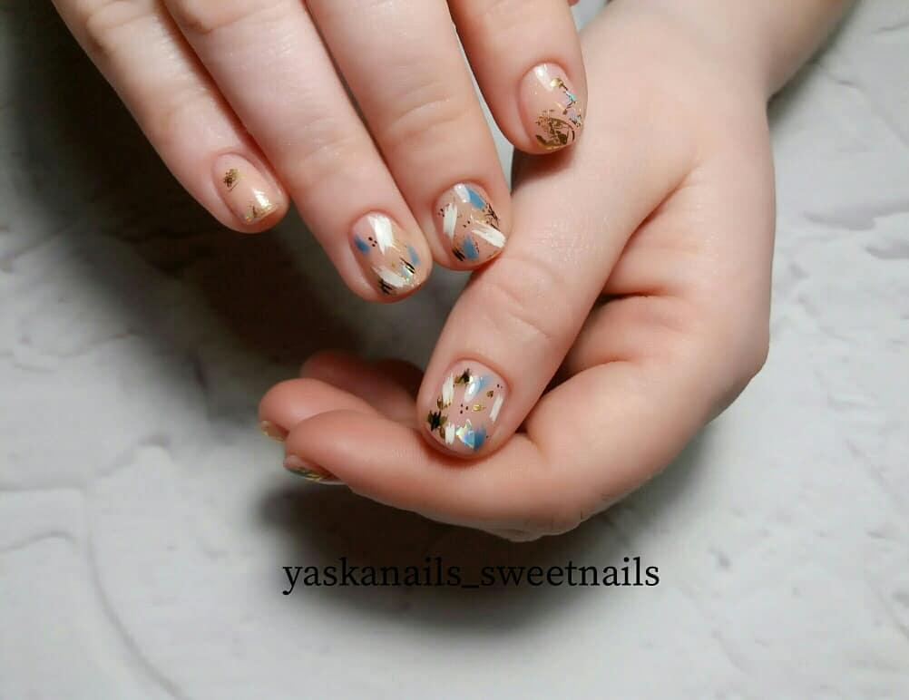 дизайн мазки кистью на ногтях фото_20