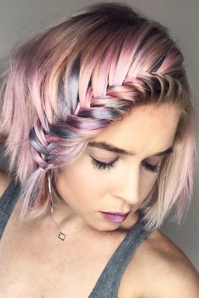 плетеные прически для коротких волос фото 19