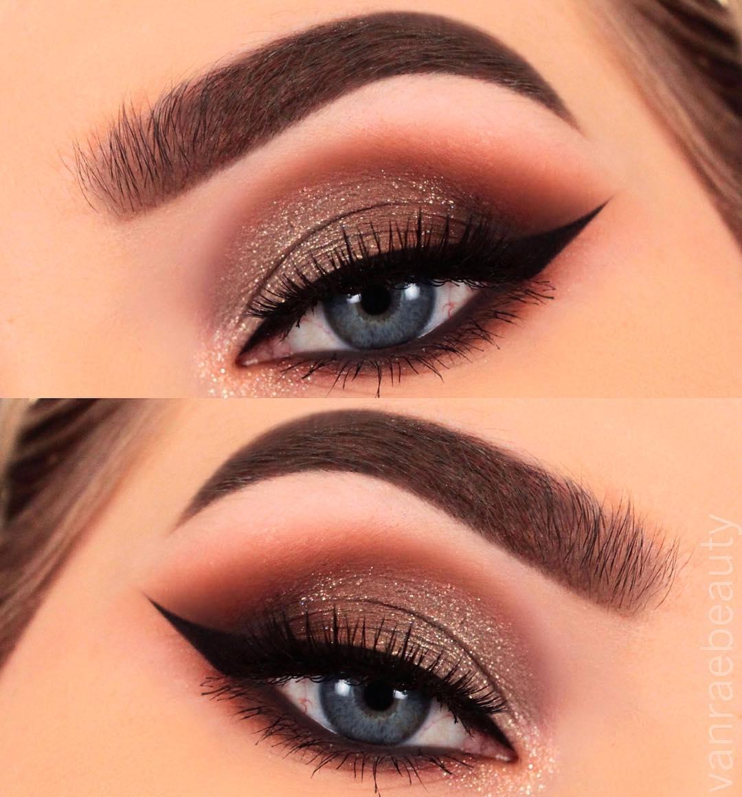 Темный макияж для голубых глаз фото 1