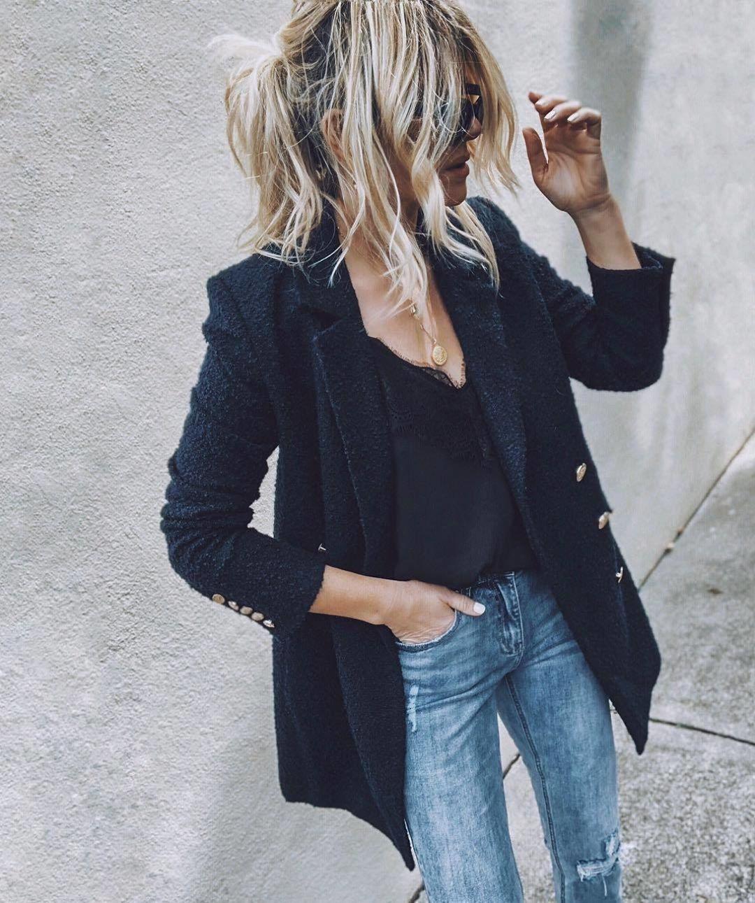 Черная рубашка и джинсы фото 9