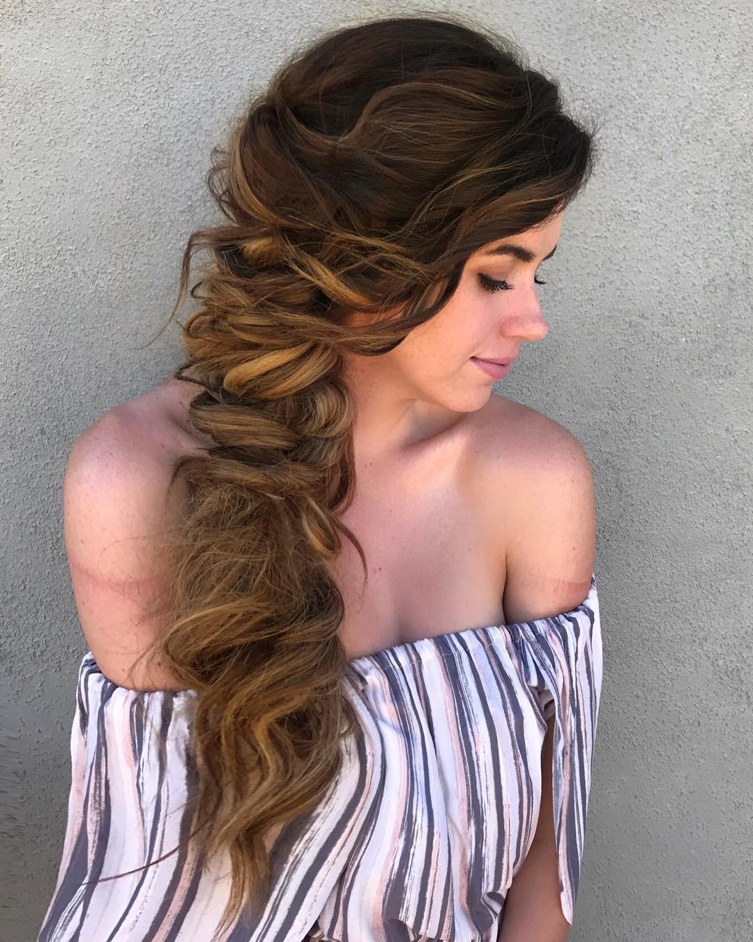 длинные волосы с косой челкой фото 1