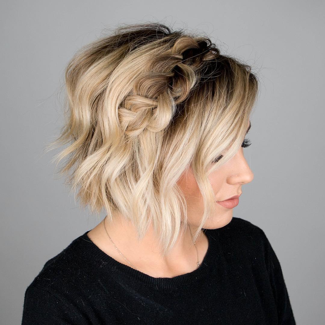 плетеные прически для коротких волос фото 4