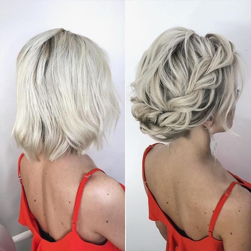 плетеные прически для коротких волос фото 6