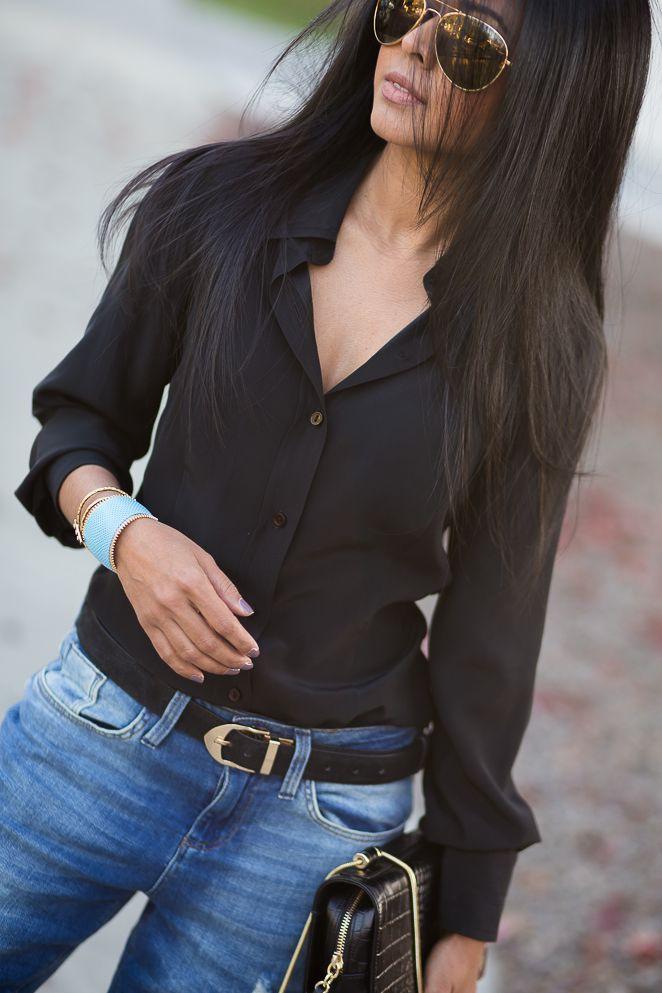 Черная рубашка и джинсы фото 2