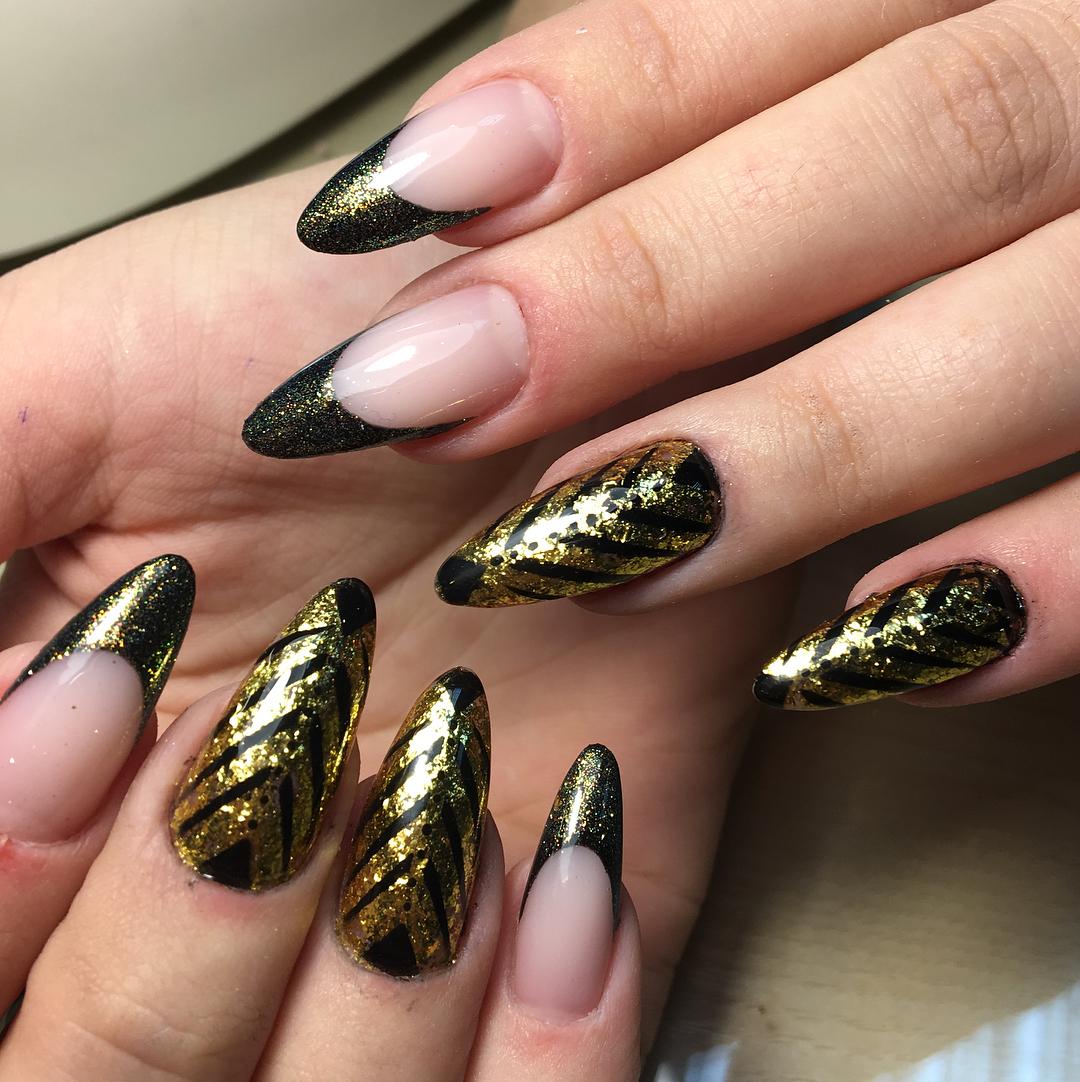 черно-золотой маникюр_4