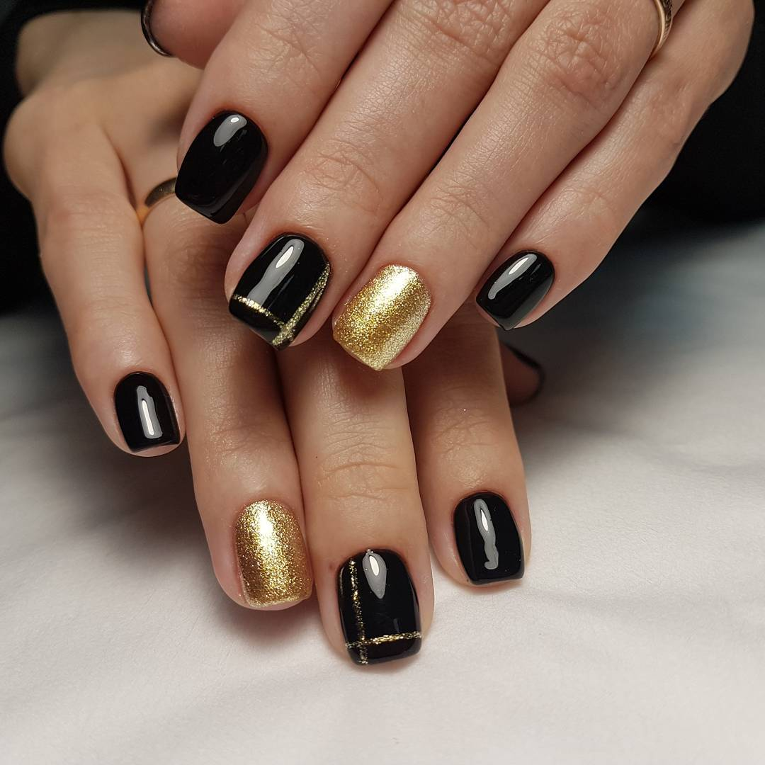 черно-золотой маникюр_5