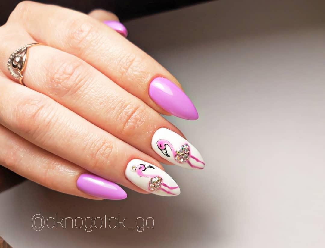 маникюр с фламинго фото_21