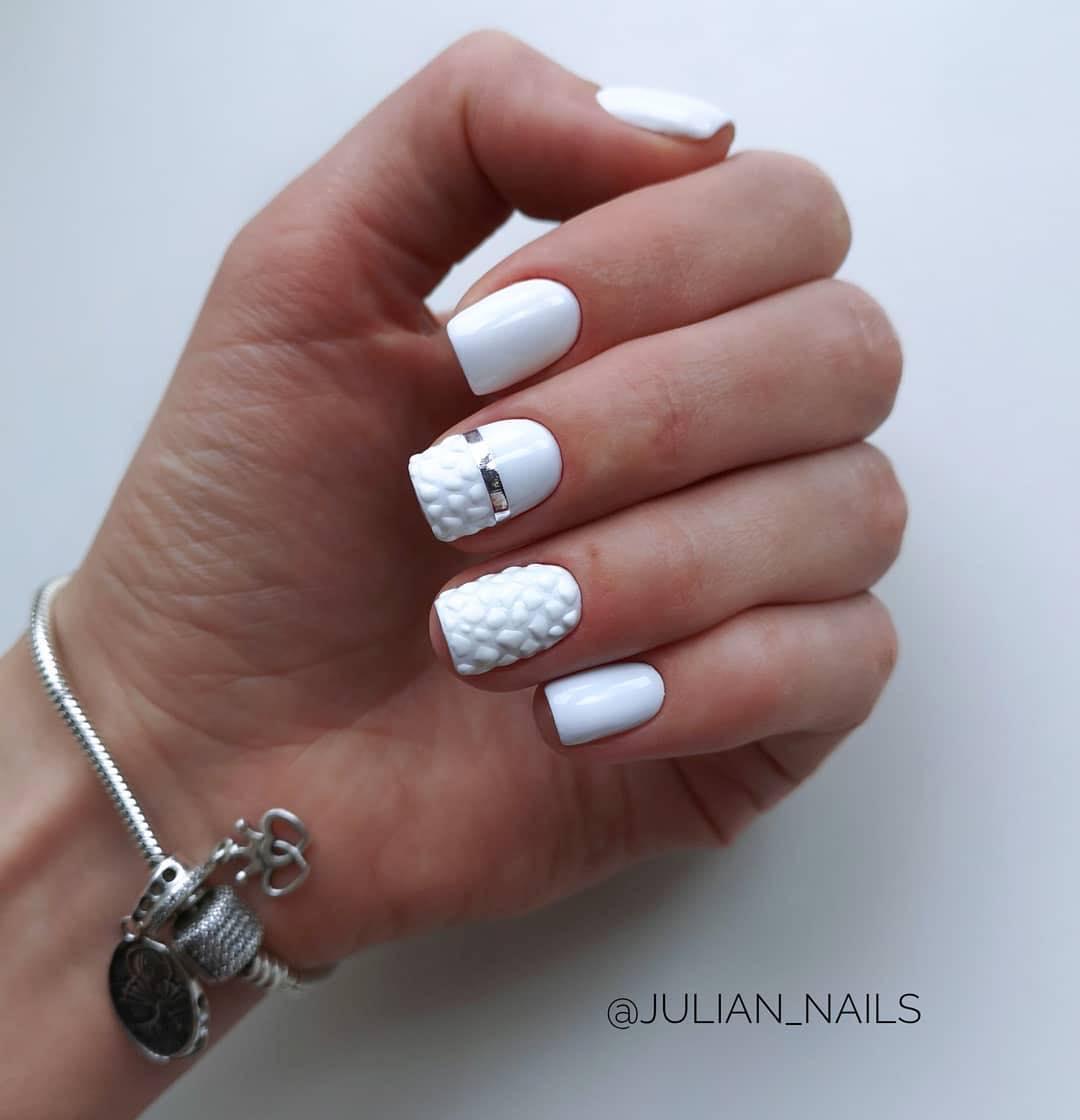 белые короткие ногти 2019_9
