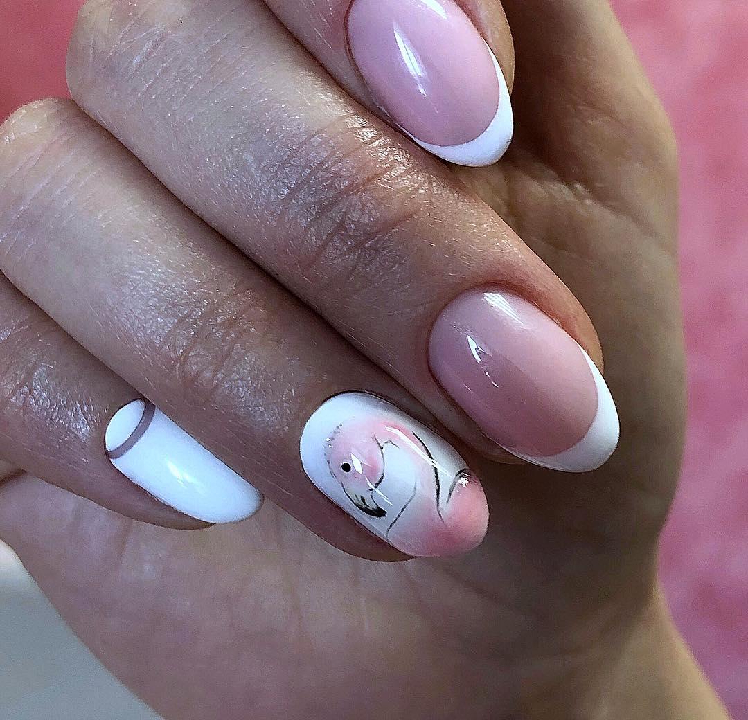 маникюр с фламинго фото_4