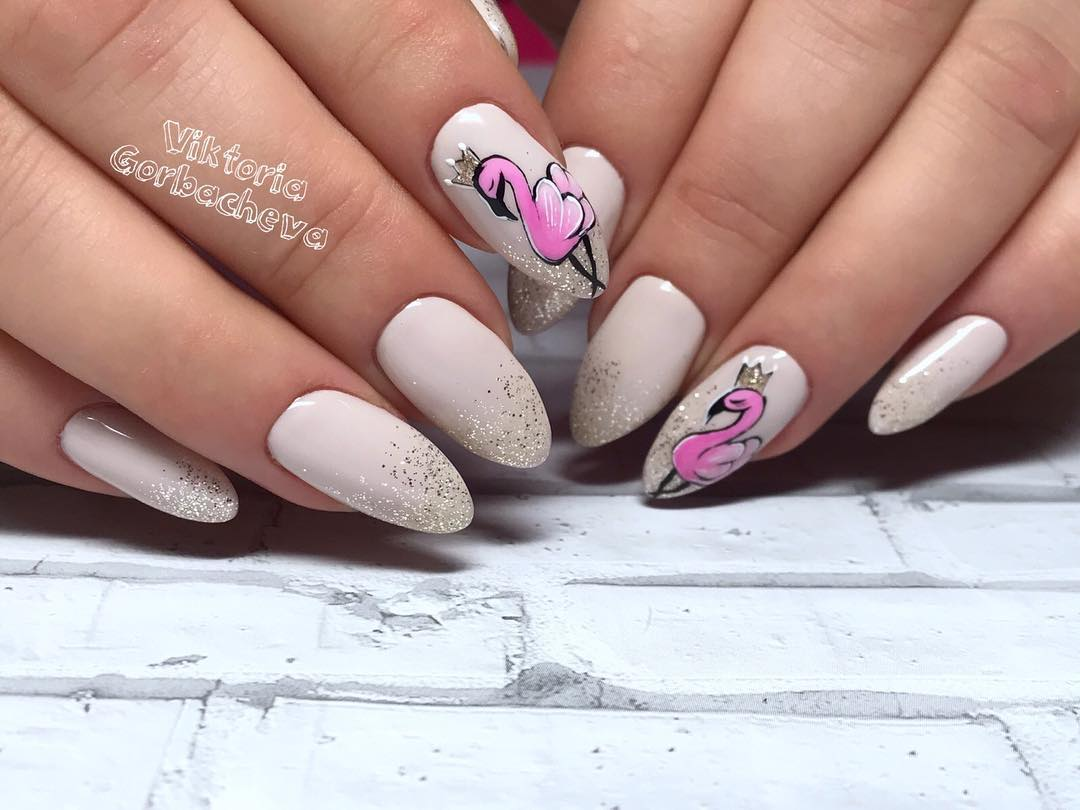 маникюр с фламинго фото_15
