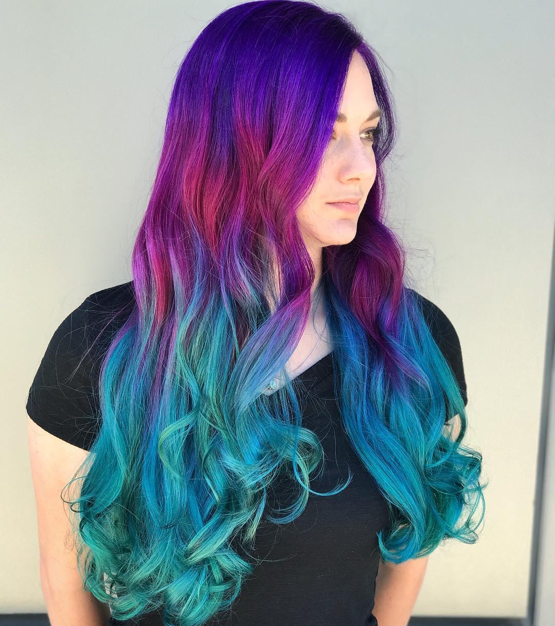 Бирюзовый цвет волос фото 14