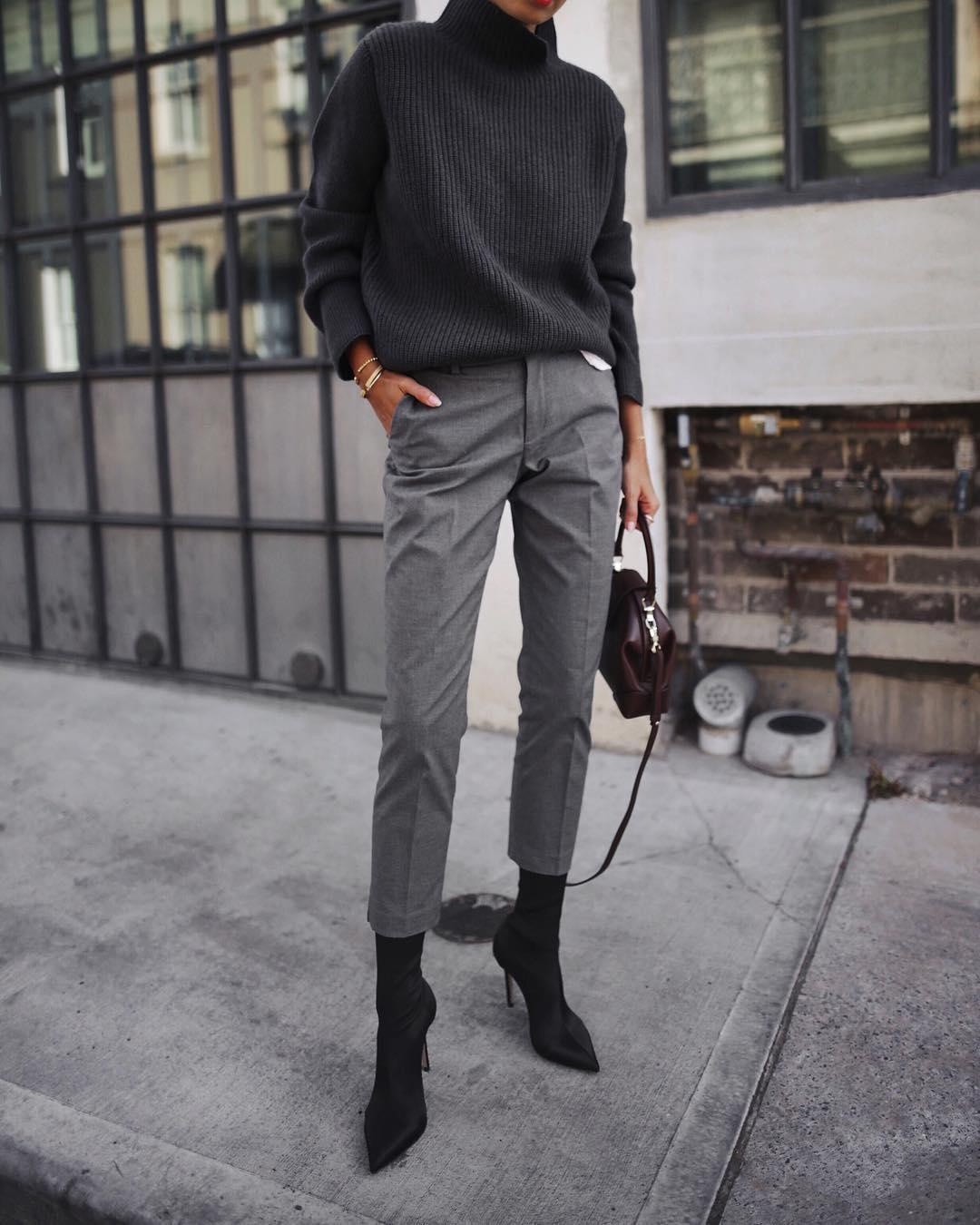 серые брюки фото 2