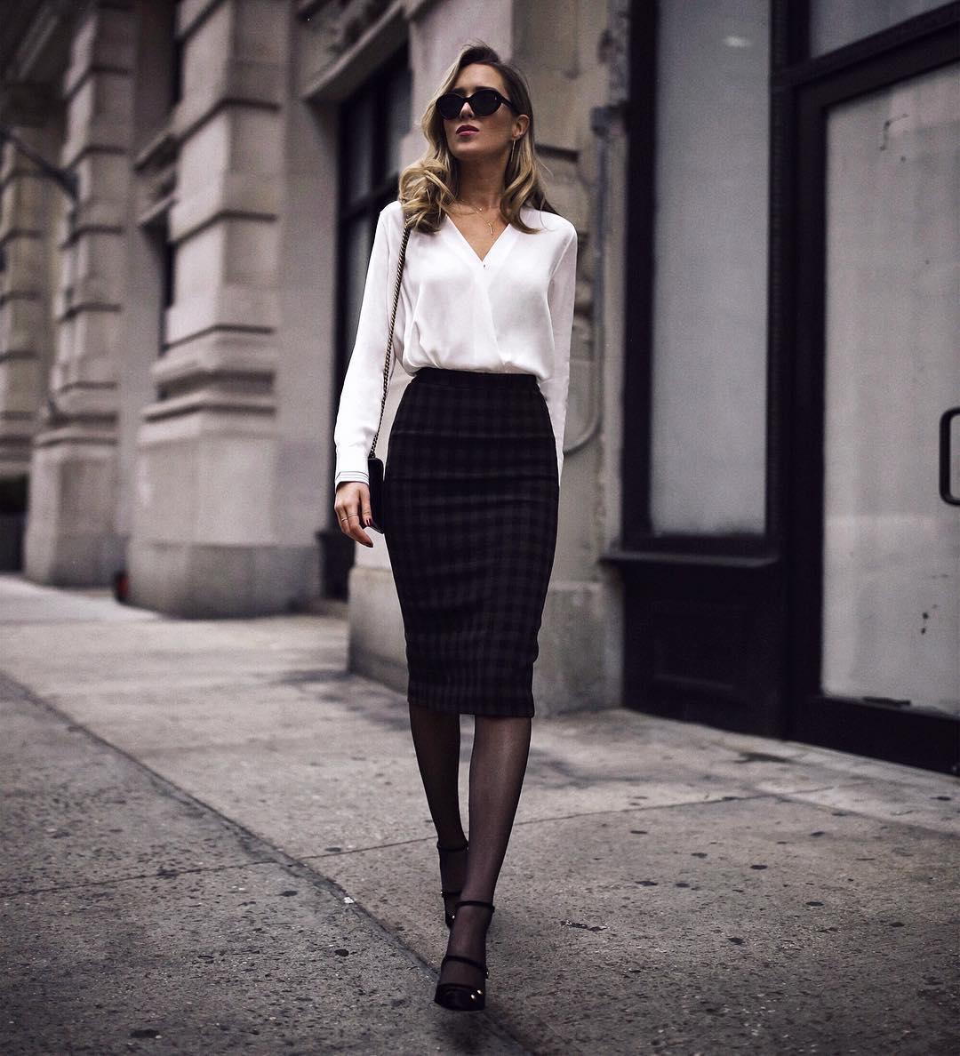 блузка с черной юбкой фото 1