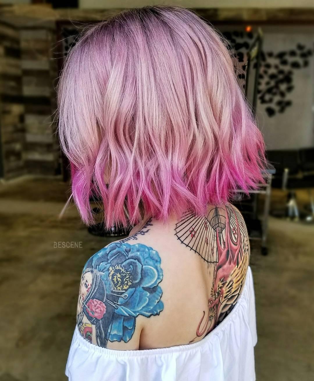 Розовый цвет волос фото 9
