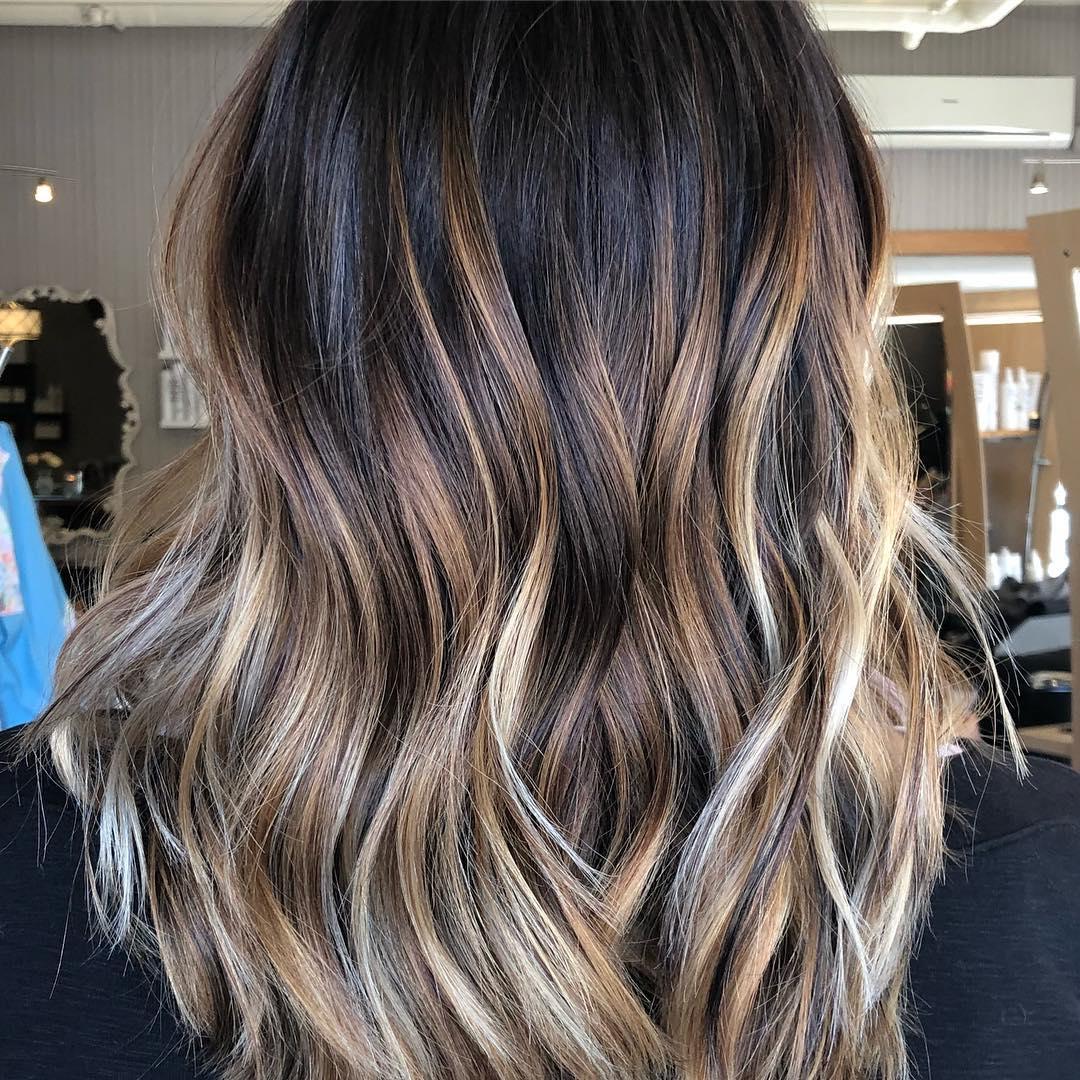 окрашивание тёмно-каштановых волос фото 10