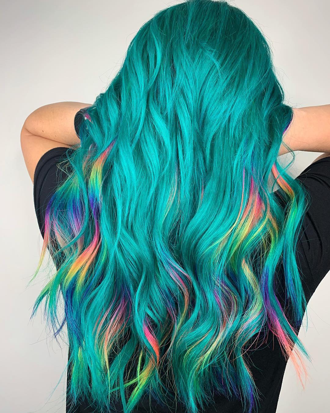 Бирюзовый цвет волос фото 15