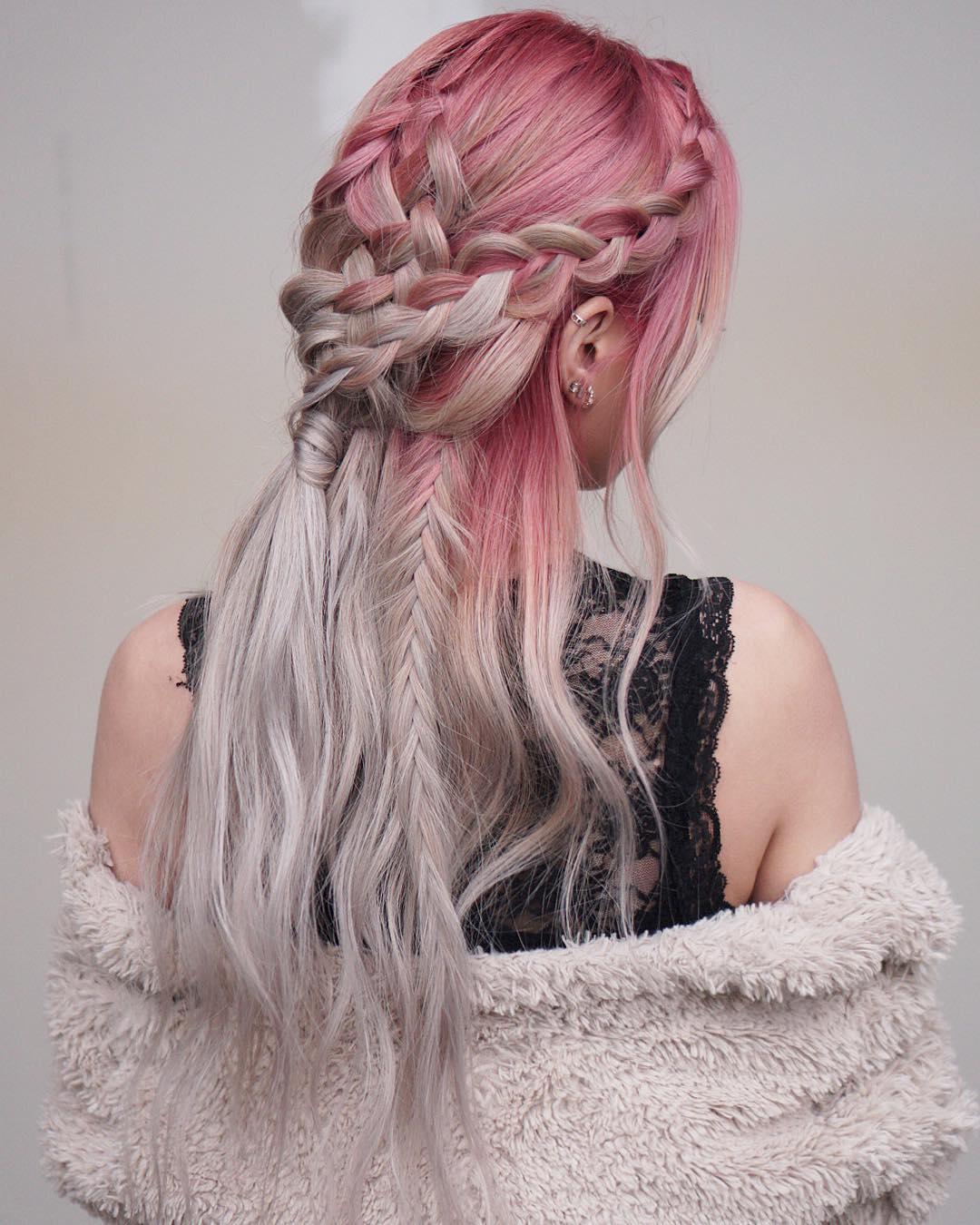 Розовый цвет волос фото 14