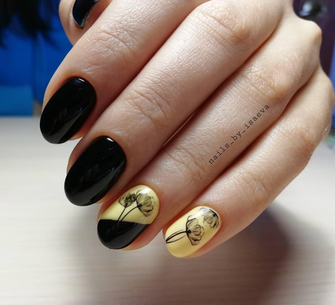 короткие темные ногти_35