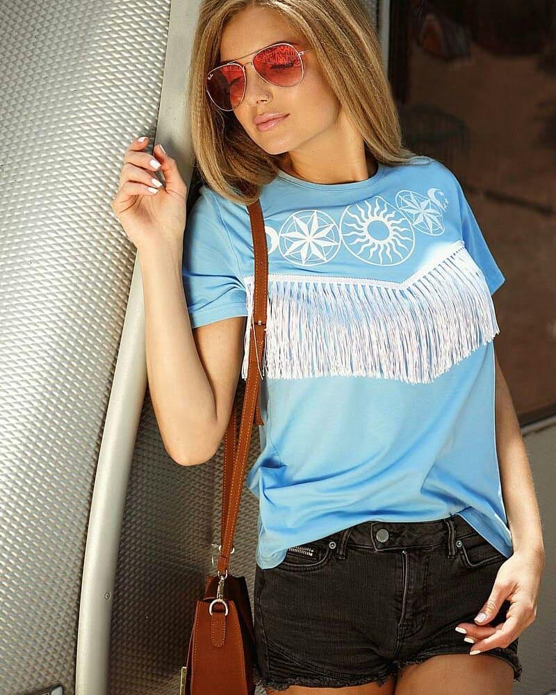 голубая футболка фото 5