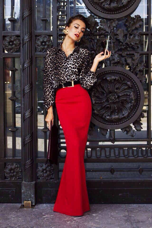 Красная юбка с блузой фото 13