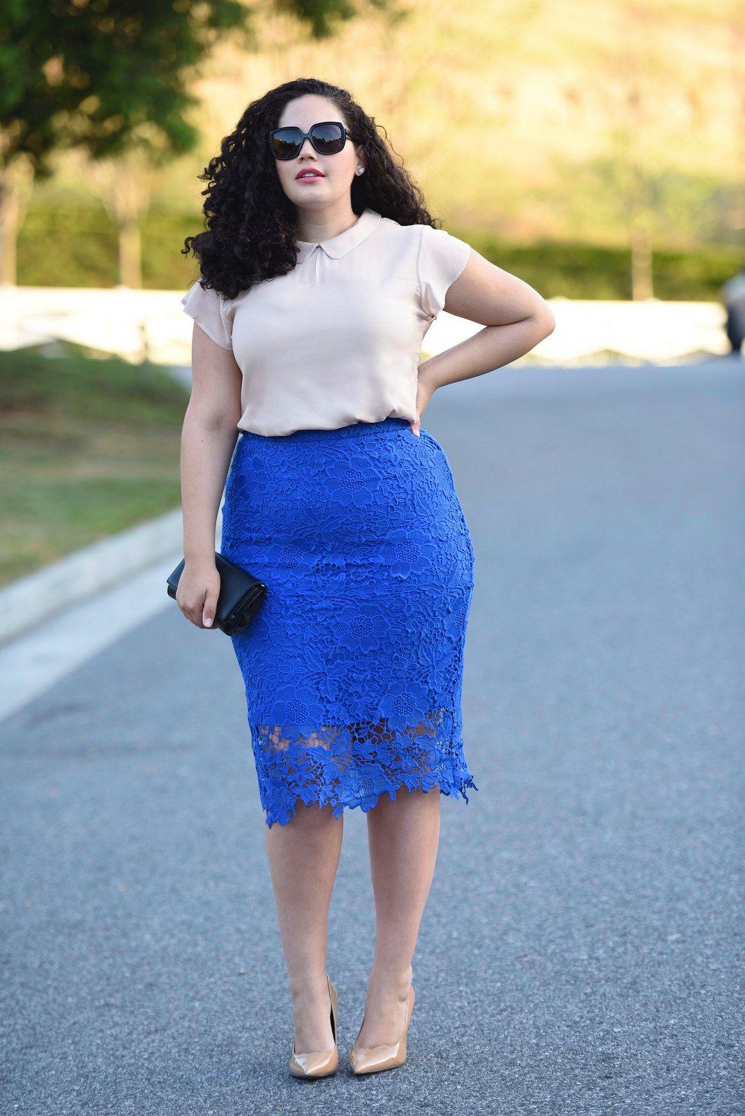 с чем носить юбку карандаш летом полным женщинам фото 13