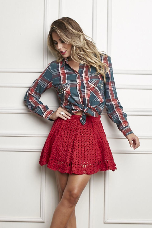 Красная юбка с блузой фото 15