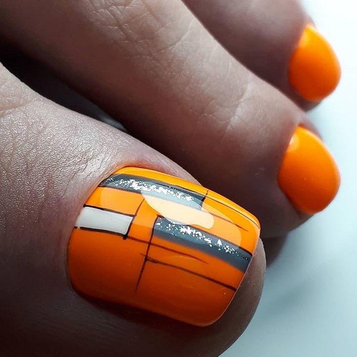 оранжевый педикюр_5