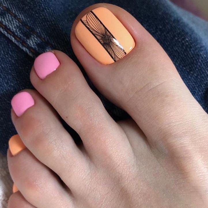оранжевый педикюр_4