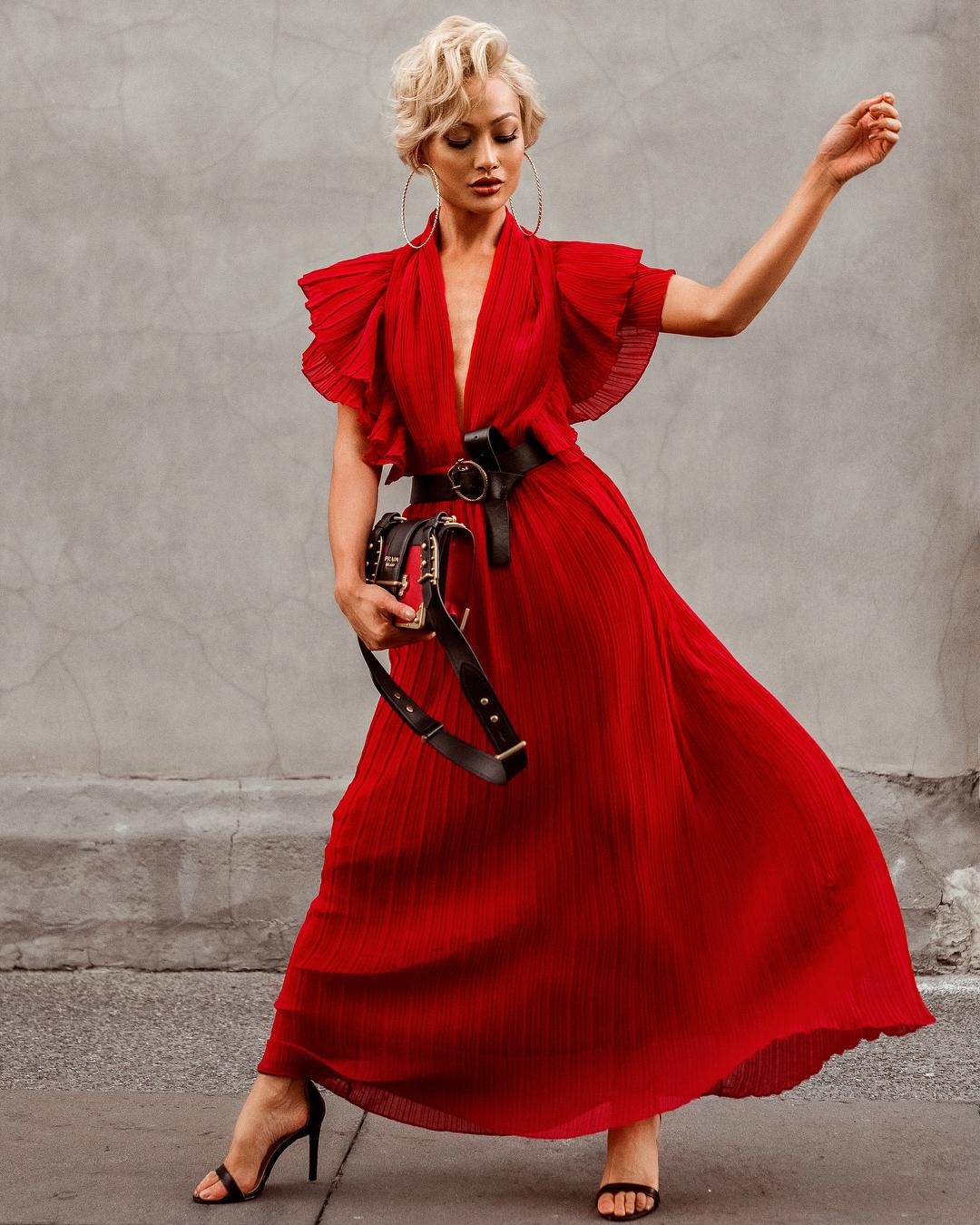 модный летние образы в красном цвете фото 2