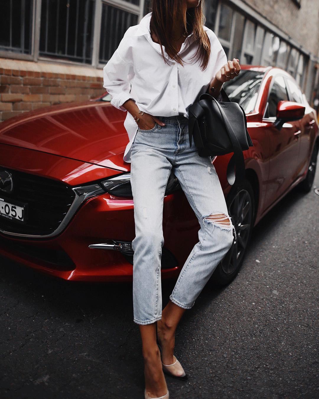 белая рубашка с джинсами фото 2
