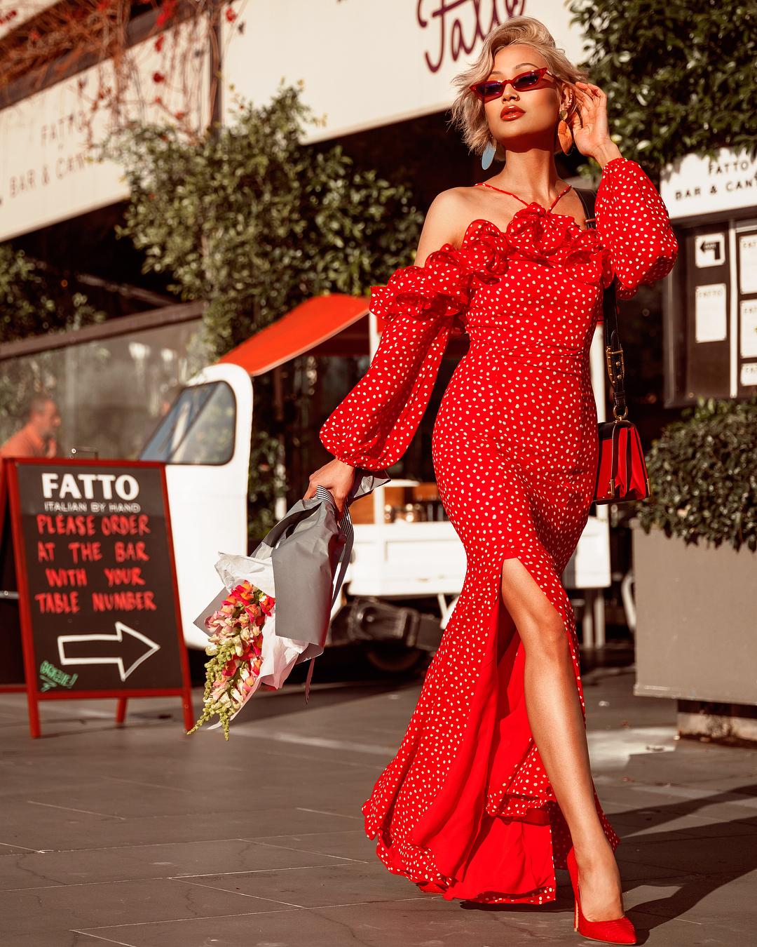 модный летние образы в красном цвете фото 3