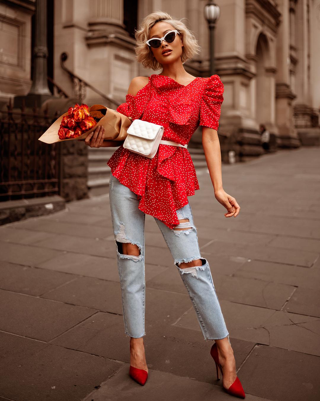 модный летние образы в красном цвете фото 5