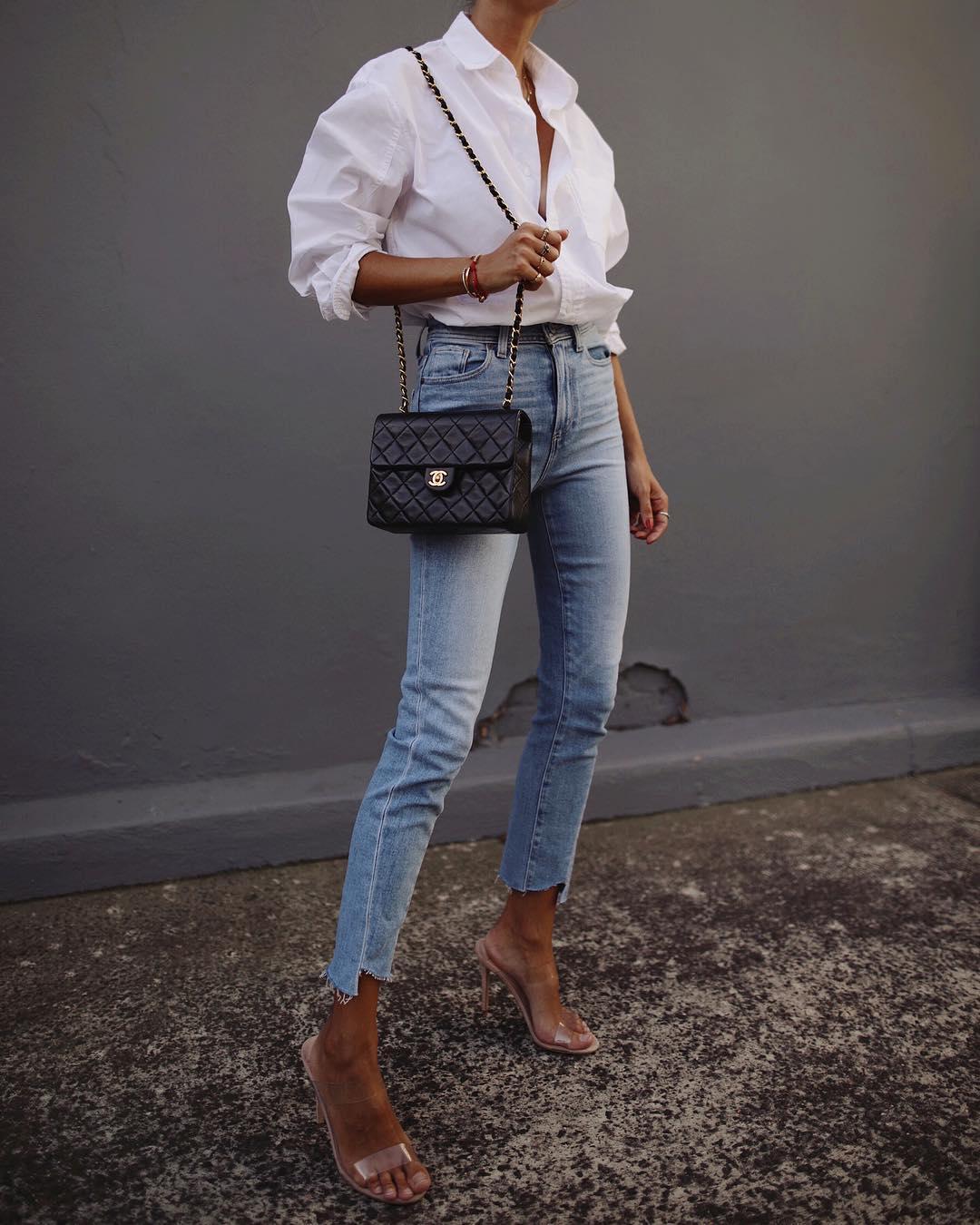 белая рубашка с джинсами фото 8