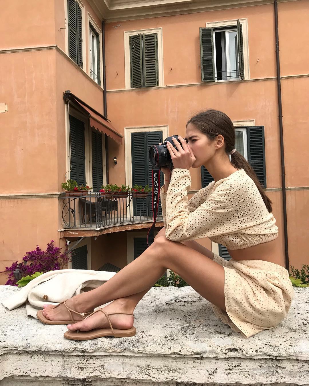 модный летние образы в бежевом цвете фото 2
