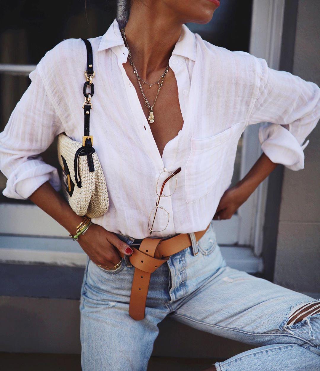 белая рубашка с джинсами фото 11
