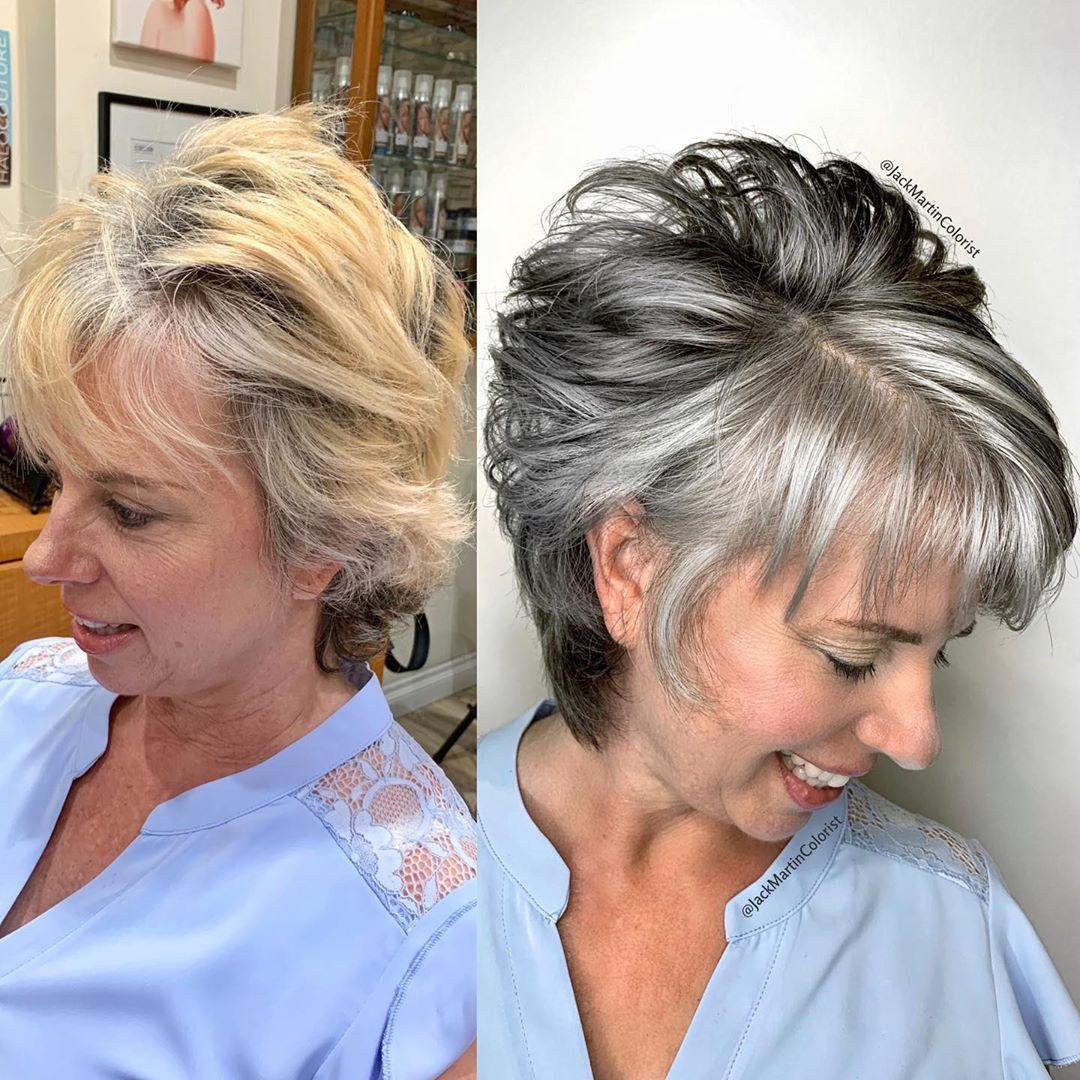 многослойные стрижки для женщин после 50 лет фото 11