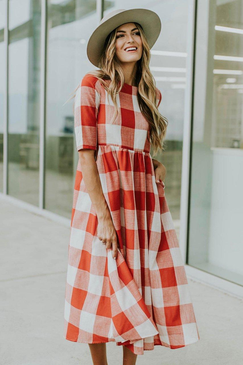 платье в клетку фото 10