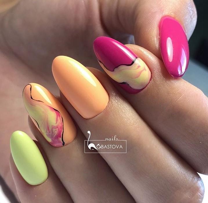 маникюр разноцветная дымка фото 24