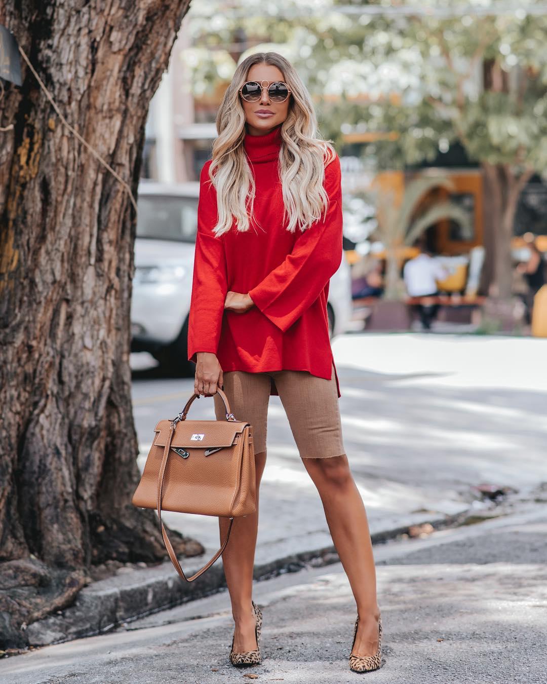модные осенние образы в красном цвете фото 1