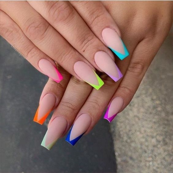 разноцветный френч фото 12