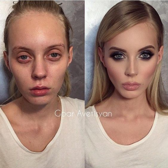 макияж до и после фото 19