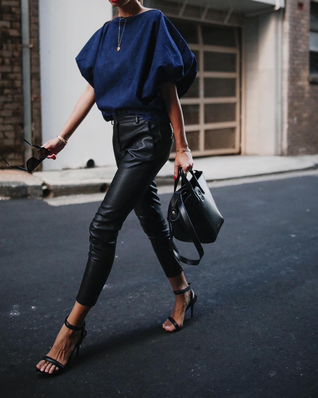 кожаные брюки 2020 фото 9