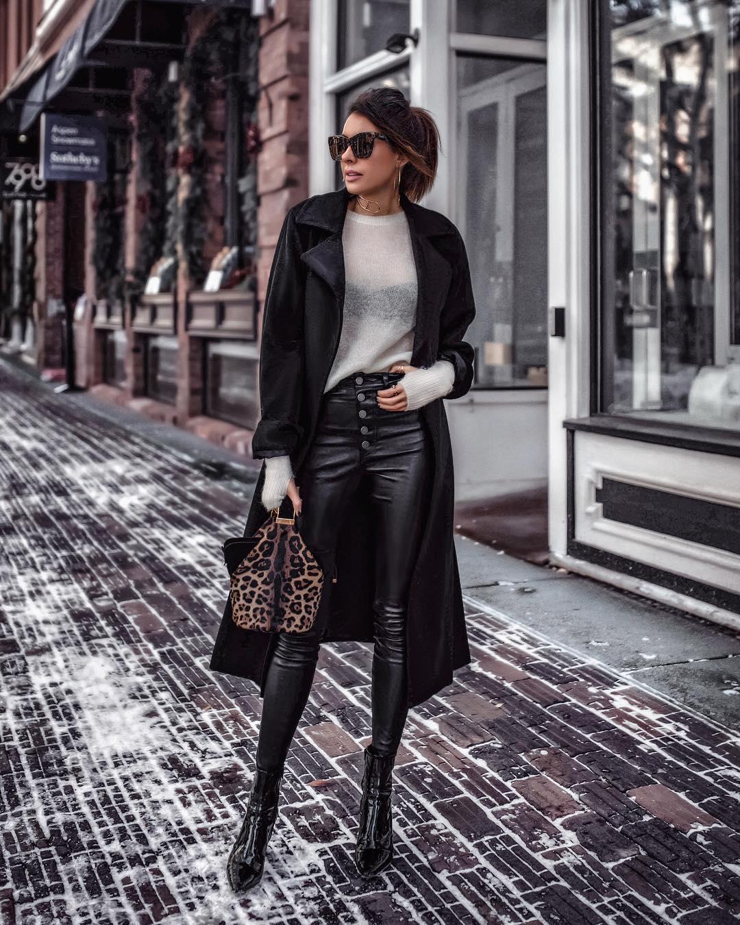 кожаные брюки 2020 фото 20